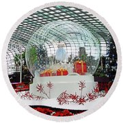 Flower Dome 2 Round Beach Towel