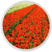 Flower Farm 2 Round Beach Towel