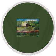 Flower Farm Round Beach Towel