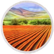 Flower Field Near Los Osos Round Beach Towel