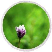Flower Front Of Blur Background. Round Beach Towel