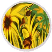 Flower Fun Round Beach Towel
