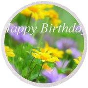 Flower Garden Birthday Card Round Beach Towel