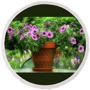 Flower Garden Pot Round Beach Towel