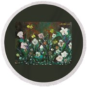 Flower Garden Round Beach Towel