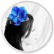 Flower Girl Blue Selective Colour Round Beach Towel