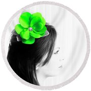 Flower Girl Green Selective Colour Round Beach Towel