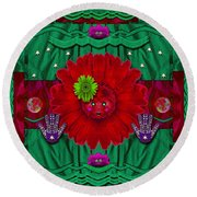 Flower Girl With Sunrose In Her Hair And Pandabears Round Beach Towel
