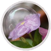 Flower In A Bubble Round Beach Towel