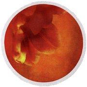 Flower In Red Round Beach Towel