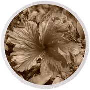 Flower In Sepia Round Beach Towel