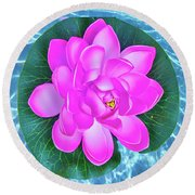 Flower In The Pool Round Beach Towel