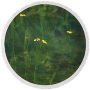 Flower In The Stream - Digital Art Round Beach Towel