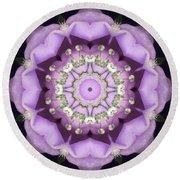 Flower Kaleidoscope 004 Round Beach Towel