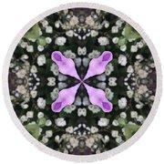 Flower Kaleidoscope_001 Round Beach Towel