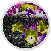 Flower Like Purple And Yellow Round Beach Towel