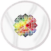 Flower Mandala 3 Round Beach Towel