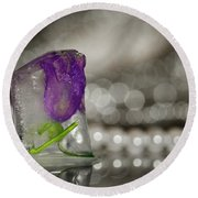 Flower Of Ice Round Beach Towel