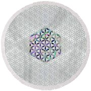 Flower Of Life Abalone Shell On Pearl Round Beach Towel