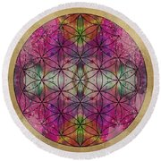 Flower Of Life Round Beach Towel by Filippo B