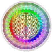 Flower Of Live - Rainbow Lotus 2 Round Beach Towel