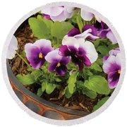 Flower - Pansy - Purple Pansies Round Beach Towel