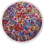 Flower Passion Round Beach Towel