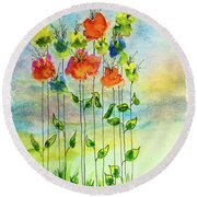 Flower Patch With Butterfly Round Beach Towel