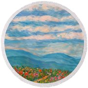 Flower Path To The Blue Ridge Round Beach Towel