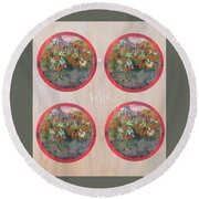 Flower Photo Globes Round Beach Towel