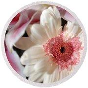 Flower Pink-white Round Beach Towel