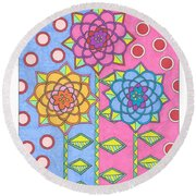 Flower Power 2 Round Beach Towel