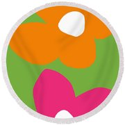 Flower Power 5- Art By Linda Woods Round Beach Towel