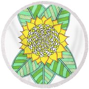 Flower Power 6 Round Beach Towel