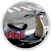 Flower Power For A Montreal Motor Scooter Round Beach Towel