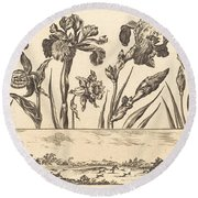 Flower Print No.3 Round Beach Towel