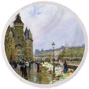 Flower Sellers By The Seine Round Beach Towel