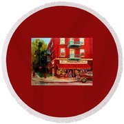 Flower Shop On The Corner Round Beach Towel