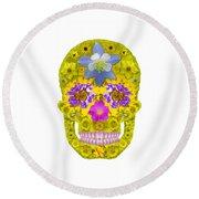 Flower Skull 3 Round Beach Towel