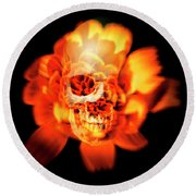 Flower Skull Round Beach Towel