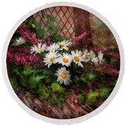 Flower - Still - Seat Reserved Round Beach Towel by Mike Savad