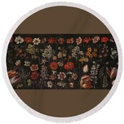 Flower Studies Round Beach Towel