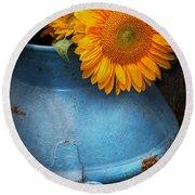 Flower - Sunflower - Little Blue Sunshine  Round Beach Towel