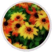 Flower Sunshine Round Beach Towel