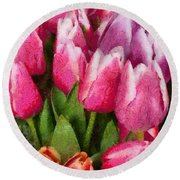 Flower - Tulip - A Young Girls Delight Round Beach Towel