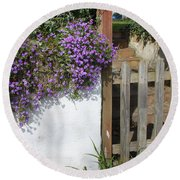 Flower Wall Round Beach Towel