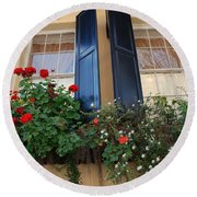 Flower Window In Charleston Sc Round Beach Towel