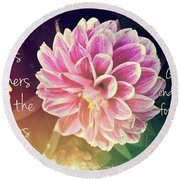 Flower With Scripture Round Beach Towel