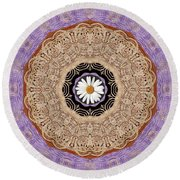 Flower With Wood Embroidery Round Beach Towel