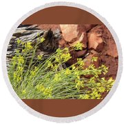 Flower Wood And Rock Round Beach Towel